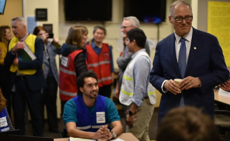 Washington Gov. Jay Inslee visits the King County Health and Medical Area Command on Jan. 29, 2020. (Erin Murphy/Public Health – Seattle & King County)